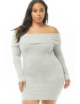 Plus Size Brushed Knit Off The Shoulder Dress by Forever 21