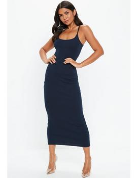 Navy Strappy Ribbed Bodycon Midi Dress by Missguided