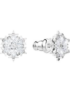 Magic Pierced Earrings, White, Rhodium Plating by Swarovski