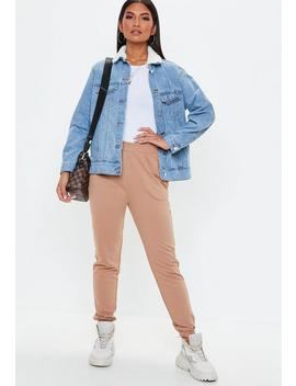 Blue Denim Oversized Borg Collar Denim Jacket by Missguided