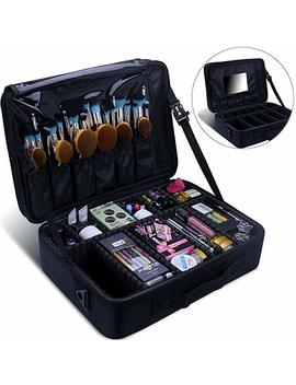 Relavel Makeup Train Case 2 Layer Multi Functional Professional Makeup Bag Large Make Up Artist Box Cosmetic Organizer With Diy Dividers Movable Mirror For Cosmetics Makeup Brushes Beauty Tool by Relavel
