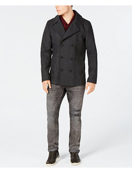 Men's Wool Blend Peacoat With Removable Hood And Bib, Created For Macy's by American Rag