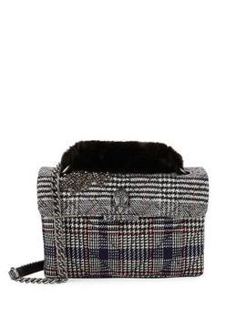 Kensington Faux Fur Plaid Shoulder Bag by Kurt Geiger London