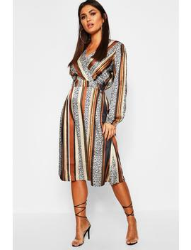 Leopard Stripe Button Front Midi Dress by Boohoo