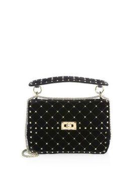 Velvet Rockstud Spike Top Handle Bag by Valentino Garavani