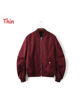 2018 Spring Autumn Mens Solid Flight Wine Red Bomber Jacket Men's Rib Sleeve Zipper Short Air Force Baseball Coats Clothing by Ali Express