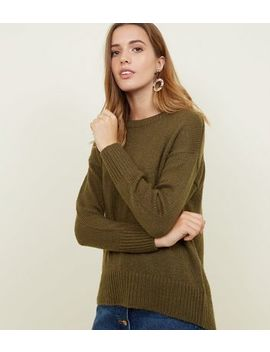 Khaki Curved Hem Jumper by New Look