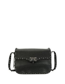 Rockstud Rolling Noir Shoulder Bag, Black by Valentino Garavani