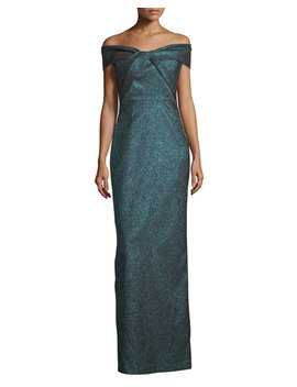 Off The Shoulder Metallic Stretch Evening Gown by Rickie Freeman For Teri Jon