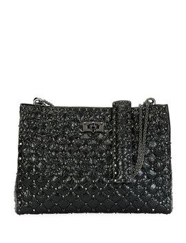 Rockstud Spike Crinkled Shoulder Bag, Black by Valentino Garavani