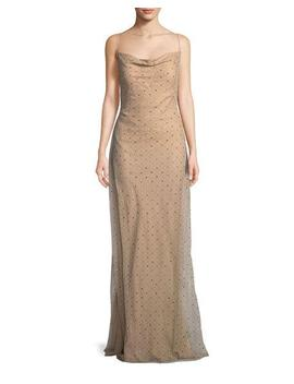 Point D'esprit Cowl Neck Slip Evening Gown With Crystals by Jason Wu