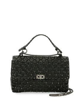 Rockstud Large Quilted Shoulder Bag, Black by Valentino Garavani