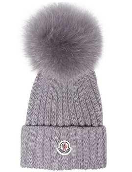 Grey Wool Beanie Hat With Pom Pom by Moncler