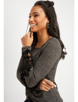 Velvet Back Yoke Knot Front Top by Maurices
