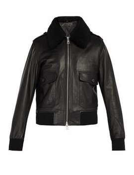 Shearling Collar Leather Bomber Jacket by Ami