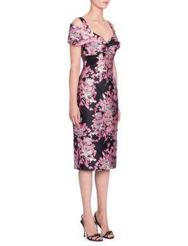 Floral Jacquard Off Shoulder Dress by Dolce & Gabbana