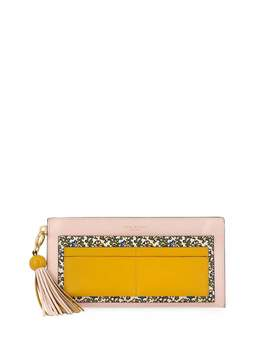 Colorblock Printed Top Zip Wallet With Tassel by Tory Burch