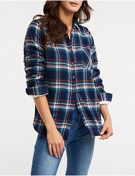 Sherpa Lined Button Up Top by Charlotte Russe