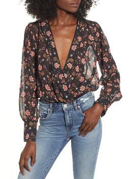 Floral Blouson Wrap Style Bodysuit by J.O.A.