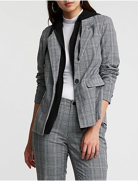 Plaid Hooded Blazer by Charlotte Russe