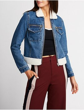 Refuge Denim Sherpa Zip Up Jacket by Charlotte Russe