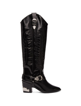Black Tall Cowboy Boots by Toga Pulla