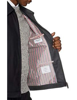 Striped Two Tone Wool Golf Jacket by Thom Browne