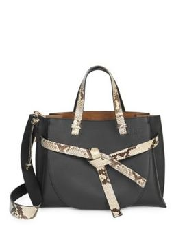Soft Grained Leather Gate Tote With Python Trim by Loewe