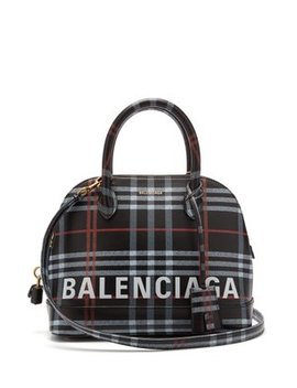 Ville S Check Leather Bag by Balenciaga