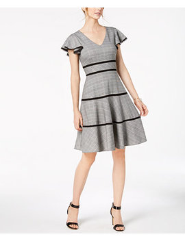 Plaid Flutter Sleeve Fit & Flare Dress by Taylor