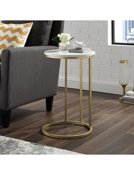 """Manor Park 16"""" Modern Round C Side End Table Nightstand   White Marble Top, Gold Base by Manor Park"""