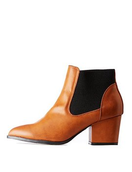 Bamboo Faux Leather Chelsea Booties by Charlotte Russe