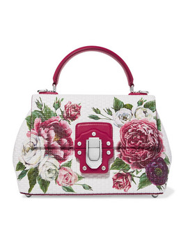 Lucia Floral Print Leather Tote by Dolce & Gabbana
