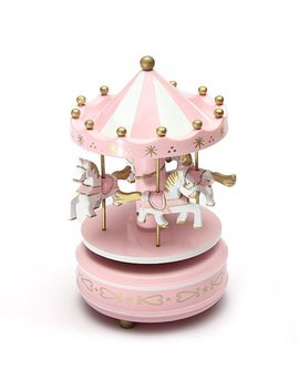Kids Funny Wooden Merry Go Round Musical Box 4 Horse Figurine Rotating Carousel Music Box With Tune Castle Toy Collection Set Festive Home Decoration Birthday Present For Children by Meigar