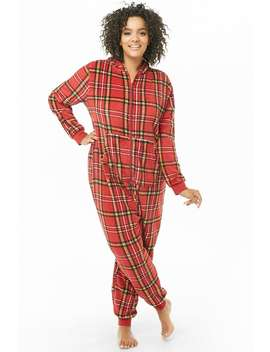 Plus Size Fuzzy Plaid Jumpsuit by Forever 21