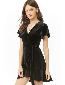 Velvet Ruffle Trim Mini Dress by Forever 21