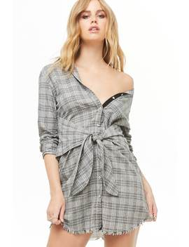 Tie Front Plaid Shirt Dress by Forever 21
