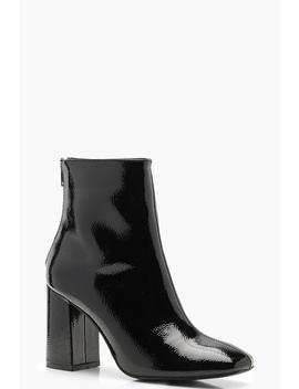 Block Heel Square Toe Shoe Boots by Boohoo