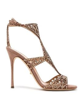 Crystal Embellished Laser Cut Suede Sandals by Sergio Rossi