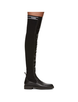 Black Knit Back Over The Knee Boots by Fendi