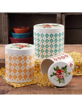 The Pioneer Woman Vintage Geo 3 Piece Canister Set by The Pioneer Woman