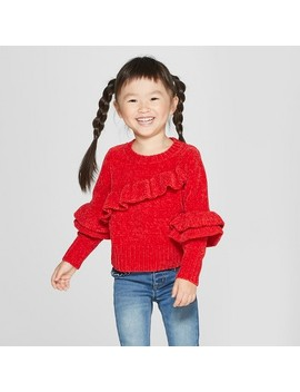 Toddler Girls' Chenille Ruffle Sleeve Pullover Sweater   Cat & Jack™ Red by Cat & Jack