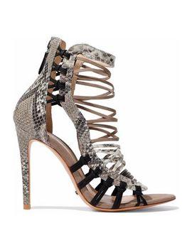 Ermmana Suede Trimmed Python Effect Leather Sandals by Schutz