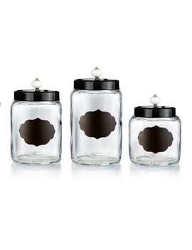 Glass Canisters W/Black Lids Set/3 by Style Setter/ Soho