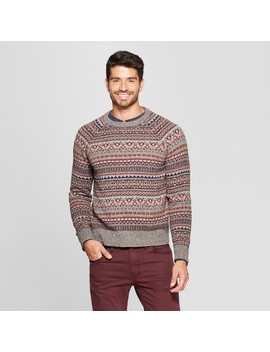 Men's Long Sleeve Jacquard Fairisle Crew Neck Pullover Sweater   Goodfellow & Co™ Gray by Goodfellow & Co