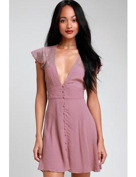 Carolina Mauve Pink Lace Mini Slip Dress by Free People