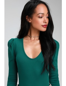 Hey Lady Teal Green Ribbed Long Puff Sleeve Top by Free People