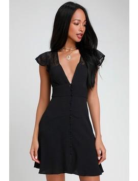 Carolina Black Lace Mini Slip Dress by Free People