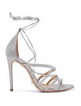 Tatiana Lace Up Glittered And Metallic Leather Sandals by Schutz