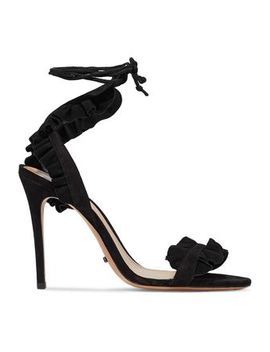 Ruffled Lace Up Suede Sandals by Schutz